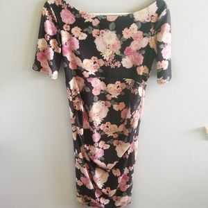 || ASOS || Floral Black & Pink Fitted Dress Size 4